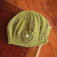 100% alpaca hat, 'Blossoming Green'