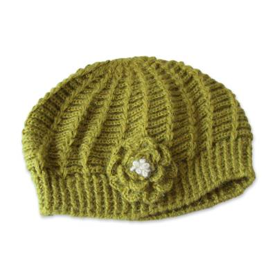 100% alpaca hat, 'Blossoming Green' - Bright Green Crocheted 100% Alpaca Wool Hat from Peru
