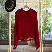 Alpaca blend poncho, 'Arequipa Red' - Alpaca Hand Knit Poncho