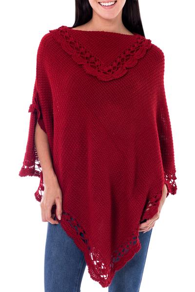 Alpaca blend poncho, 'Arequipa Red' - Alpaca Wool Blend Poncho