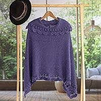 Alpaca blend poncho, 'Arequipa Purple' - Alpaca Wool Blend Poncho from Peru