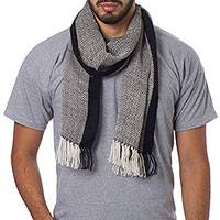 Men's 100% alpaca scarf, 'Solidarity in Black and White'