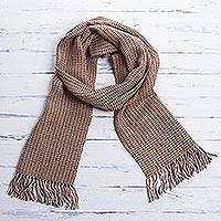Men's 100% alpaca scarf, 'Fortitude in Brown' - Pure Alpaca Wool Scarf from Peru