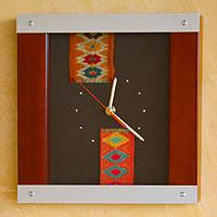 Pinewood and aluminum wall clock, 'Time in Color' - Pinewood and aluminum wall clock