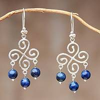 Lapis lazuli chandelier earrings, 'Fortunate' - Handcrafted Sterling Silver Chandelier Lapis Lazuli Earrings