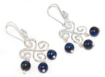 Lapis lazuli chandelier earrings, 'Fortunate' - Handcrafted Sterling Silver Chandelier Lapis Lazuli Earrings