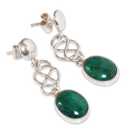 Chrysocolla dangle earrings, 'Tangled-Up' - Chrysocolla Dangle Earrings Handcrafted Sterling Silver