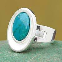 Chrysocolla single stone ring, 'Sense of Serenity'