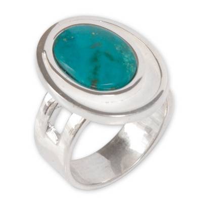 Chrysocolla single stone ring, 'Sense of Serenity' - Modern Sterling Silver Single Stone Chrysocolla Ring