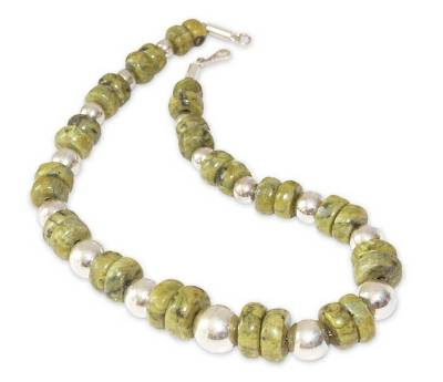 Serpentine beaded necklace, 'Dreams of Peace' - Handcrafted Sterling Silver and Serpentine Necklace