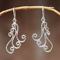 Sterling silver dangle earrings, 'Angelical' - Peruvian Sterling Silver Dangle Earrings