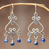 Sodalite chandelier earrings, 'Beautiful Bluebells' - Heart Shaped Sterling Silver Sodalite Chandelier Earrings