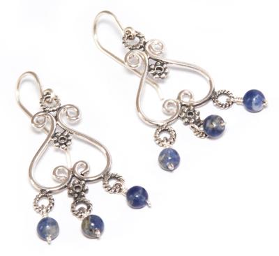 Sodalite chandelier earrings, 'Beautiful Bluebells' - Heart Shaped Sterling Silver Sodalite Chandelier Earrings