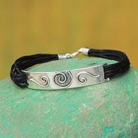 Sterling silver wristband bracelet, 'Enigma' - Handcrafted Black Cotton  and Silver Bracelet