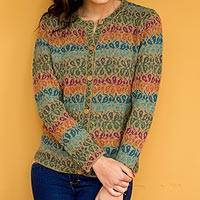 100% alpaca cardigan, 'Andean Secret' - Alpaca Wool Art Knit Cardigan Sweater