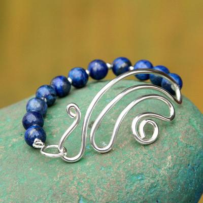 Lapis lazuli beaded bracelet, 'In Visions' - Collectible Sterling Silver Beaded Lapis Lazuli Bracelet