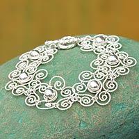 Sterling silver flower bracelet, 'Princess Lace' - Handmade Floral Sterling Silver Link Bracelet
