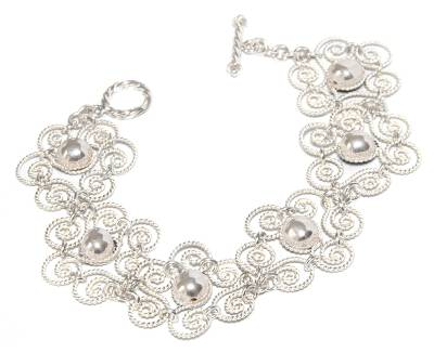 Handmade Floral Sterling Silver Link Bracelet