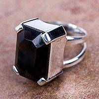 Smoky quartz solitaire ring, 'Miraflores Mist' - Sterling Silver Solitaire Smoky Quartz Ring from Peru