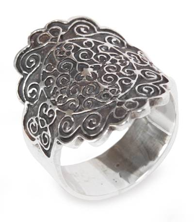 Sterling silver cocktail ring, 'Colonial Cajamarca' - Peru Handcrafted 925 Sterling Silver Cocktail Ring