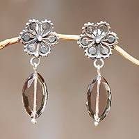 Smoky quartz flower earrings, 'Silver Petals' - Smoky quartz flower earrings