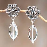 Quartz flower earrings, 'Silver Petals' - Quartz flower earrings