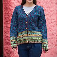 100% alpaca sweater, 'Turquoise Trellis' - Alpaca Wool Art Knit Cardigan Sweater