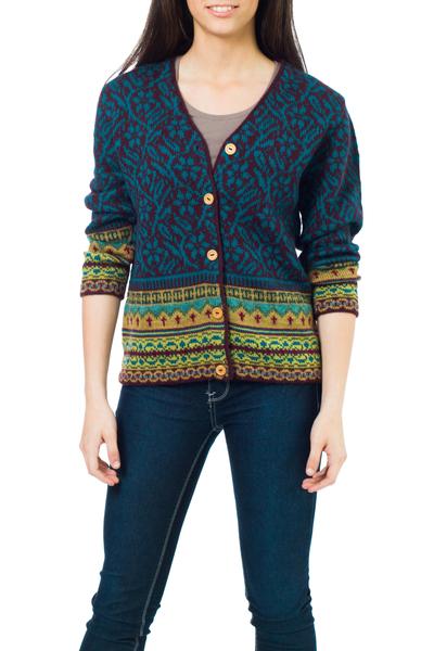 100% alpaca sweater, 'Turquoise Trellis' - Alpaca Wool Art Knit Cardigan Sweater