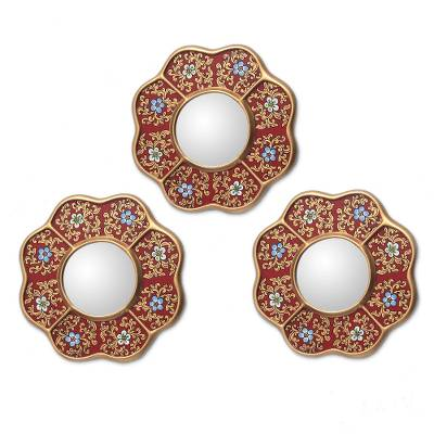 Mirrors, 'New Spring' (set of 3) - Set of 3 Collectible Reverse Painted Glass Mirrors