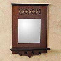 Mohena wood mirror with shelf, 'Andean Welcome' - Wood Wall Mirror with Shelf
