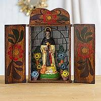Wood retablo, 'Saint Martin de Porres' - Handmade Wood Retablo Sculpture