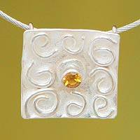 Citrine pendant necklace, 'Sunny Thoughts' - Sterling Silver and Citrine Modern Pendant Necklace
