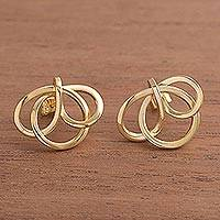 Gold plated button earrings, 'Amazon Knot'