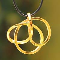 Gold plated pendant necklace, 'Amazon Knot' - Fair Trade Cord Pendant from Peru
