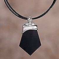 Obsidian pendant necklace, 'Warrior's Fortune' - Unique Sterling Silver and Obsidian Necklace