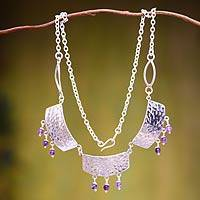 Sterling silver and amethyst pendant necklace, 'Inca Fascination'