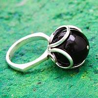 Obsidian flower ring, 'Center of the Universe'