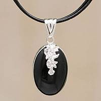 Obsidian pendant necklace, 'Flowers of the Universe' - Artisan Crafted Silver and Obsidian Pendant Necklace