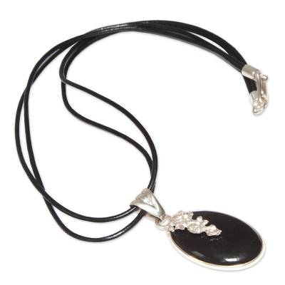 Artisan Crafted Silver and Obsidian Pendant Necklace