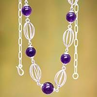 Amethyst beaded necklace, 'Timeless Lily'