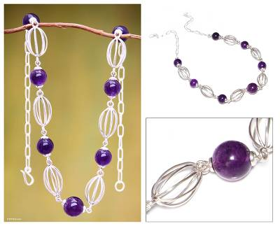 Amethyst beaded necklace, 'Timeless Lily' - Handmade Amethyst And Sterling Silver Necklace