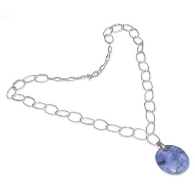 Sodalite pendant necklace, 'Seed of Peace' - Sodalite Pendant Necklace from Peru