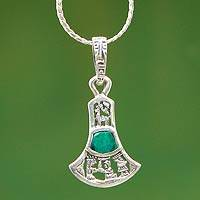 Chrysocolla pendant necklace, 'Bell Story' - Chrysocolla pendant necklace