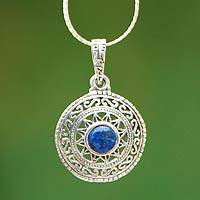 Lapis lazuli pendant necklace, 'Inti Sun God' - Handcrafted Silver and Lapis Lazuli Necklace from Peru