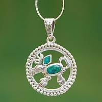 Chrysocolla pendant necklace, 'Creature of Myth' - Chrysocolla pendant necklace
