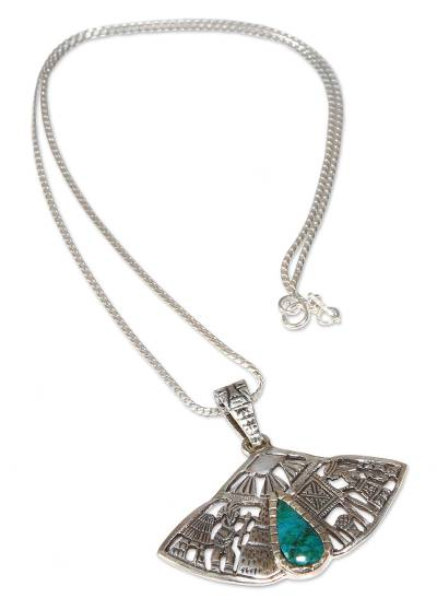Chrysocolla pendant necklace, 'Life of the Inca' - Chrysocolla pendant necklace