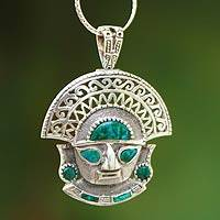 Chrysocolla pendant necklace, 'Ancient Warrior'
