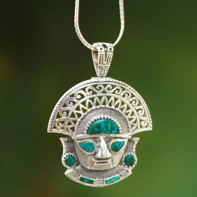 Chrysocolla pendant necklace, 'Ancient Warrior' - Chrysocolla pendant necklace