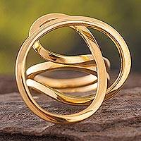 Gold plated cocktail ring, 'Amazon Knot'