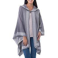 100% alpaca hooded kimono ruana, 'Inca Gray' - Peruvian Alpaca Wool Patterned Wrap Ruana